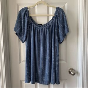 W5 smoky blue & white textured swing top